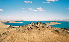 "surrounding giant lakes, because screw the desert (BTW, this is Bayan Nuur, or ""Rich Lake"")"