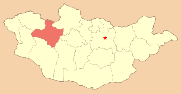 Location of Zavkhan (the star represents Ulaanbaatar, the capital of Mongolia)