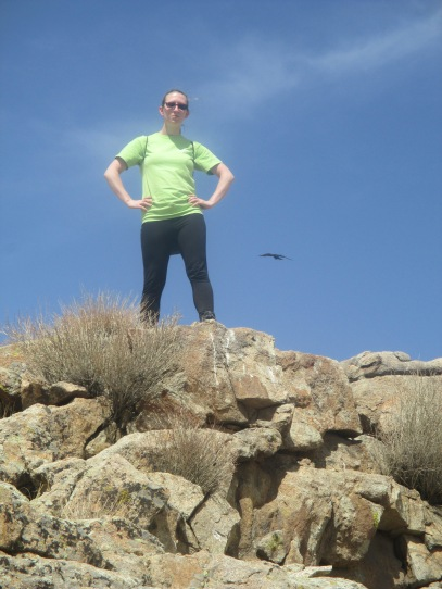 Top-of-the-mountain photo with perfectly-timed bird soaring behind me