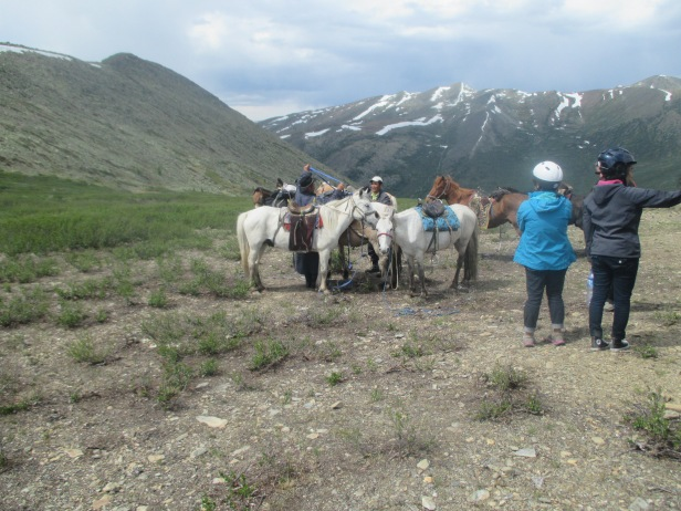 We had to get off the horses and walk down into the valley where the camp was, since the path was very rocky and dangerous for the horses to go down with riders